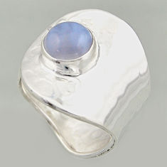 3.19cts natural lace agate 925 silver solitaire adjustable ring size 8 r16409