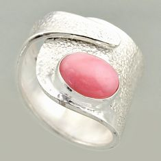 925 silver 4.20cts natural pink opal solitaire adjustable ring size 8 r16412