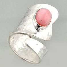 4.55cts natural pink opal 925 silver solitaire adjustable ring size 8 r16415