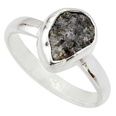 3.32cts natural certified diamond rough 925 sterling silver ring size 7 r16625