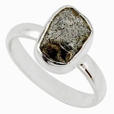 4.38cts natural certified diamond rough 925 sterling silver ring size 8 r16634