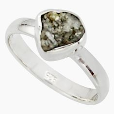 3.32cts natural certified diamond rough 925 sterling silver ring size 8 r16644