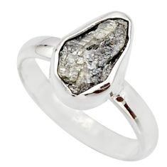 3.91cts natural certified diamond rough 925 sterling silver ring size 7 r16647