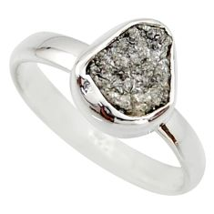 3.62cts natural certified diamond rough 925 sterling silver ring size 8 r16651