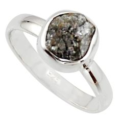 3.59cts natural certified diamond rough 925 sterling silver ring size 8 r16654