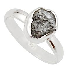 3.62cts natural certified diamond rough 925 sterling silver ring size 8 r16659