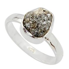 3.62cts natural certified diamond rough 925 sterling silver ring size 7 r16660
