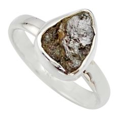 4.18cts natural certified diamond rough 925 sterling silver ring size 8 r16668