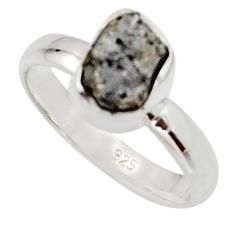 3.18cts natural certified diamond rough 925 sterling silver ring size 6 r16678