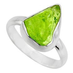 5.53cts natural green peridot rough 925 silver solitaire ring size 8 r16741