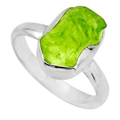 4.82cts natural green peridot rough 925 silver solitaire ring size 8 r16742