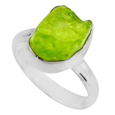 5.54cts natural green peridot rough 925 silver solitaire ring size 6 r16743