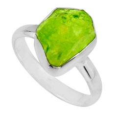 925 silver 5.81cts natural green peridot rough solitaire ring size 8 r16744