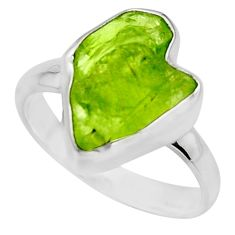6.03cts natural green peridot rough 925 silver solitaire ring size 7 r16745