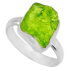 5.53cts natural green peridot rough 925 silver solitaire ring size 7 r16746