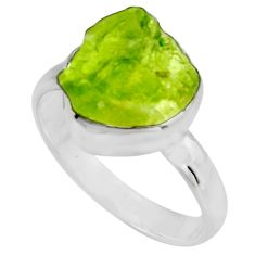 5.36cts natural green peridot rough 925 silver solitaire ring size 8 r16747