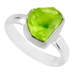 925 silver 4.38cts natural green peridot rough solitaire ring size 6 r16748