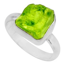 5.63cts natural green peridot rough 925 silver solitaire ring size 8 r16749