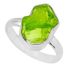 5.81cts natural green peridot rough 925 silver solitaire ring size 8 r16750