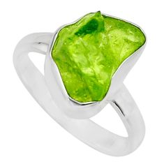 5.23cts natural green peridot rough 925 silver solitaire ring size 8 r16751