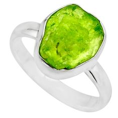 5.23cts natural green peridot rough 925 silver solitaire ring size 7.5 r16752