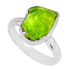925 silver 5.54cts natural green peridot rough solitaire ring size 7 r16753
