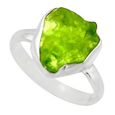 5.81cts natural green peridot rough 925 silver solitaire ring size 9 r16754