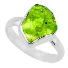 5.54cts natural green peridot rough 925 silver solitaire ring size 8 r16756