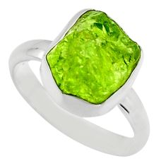 925 silver 5.54cts natural green peridot rough solitaire ring size 7 r16757