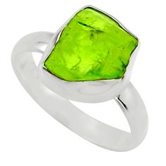 5.23cts natural green peridot rough 925 silver solitaire ring size 7 r16758