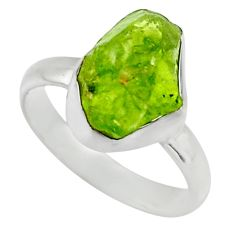 5.81cts natural green peridot rough 925 silver solitaire ring size 7 r16759