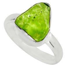 925 silver 5.51cts natural green peridot rough solitaire ring size 7 r16760