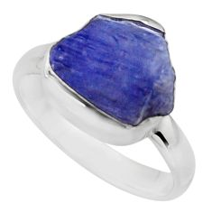 5.23cts natural blue tanzanite rough 925 silver solitaire ring size 7 r16761