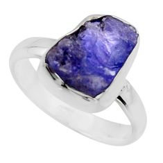 5.23cts natural blue tanzanite rough 925 silver solitaire ring size 7 r16763