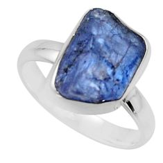 5.81cts natural blue tanzanite rough 925 silver solitaire ring size 7 r16765
