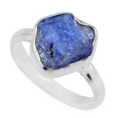 5.23cts natural blue tanzanite rough 925 silver solitaire ring size 9 r16767