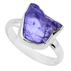 925 silver 5.45cts natural blue tanzanite rough solitaire ring size 8 r16768