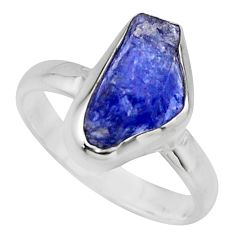 5.23cts natural blue tanzanite rough 925 silver solitaire ring size 8 r16769