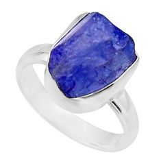 5.81cts natural blue tanzanite rough 925 silver solitaire ring size 6 r16771