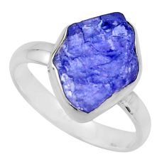 925 silver 5.63cts natural blue tanzanite rough solitaire ring size 8 r16772