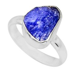 5.54cts natural blue tanzanite rough 925 silver solitaire ring size 8 r16773