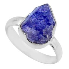 5.54cts natural blue tanzanite rough 925 silver solitaire ring size 7 r16774
