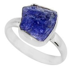 5.23cts natural blue tanzanite rough 925 silver solitaire ring size 7 r16775