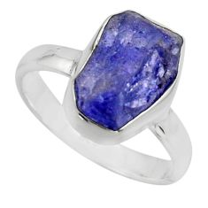 925 silver 5.54cts natural blue tanzanite rough solitaire ring size 8 r16776
