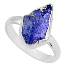 6.72cts natural blue tanzanite rough 925 silver solitaire ring size 9 r16777