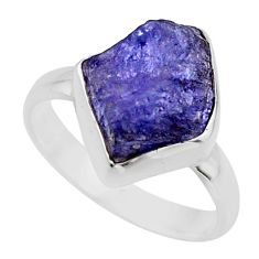 5.53cts natural blue tanzanite rough 925 silver solitaire ring size 7 r16778