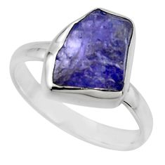 6.70cts natural blue tanzanite rough 925 silver solitaire ring size 9 r16779