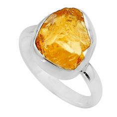 5.95cts yellow citrine rough 925 silver solitaire ring jewelry size 8 r16781