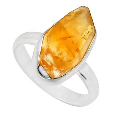 5.96cts yellow citrine rough 925 silver solitaire ring jewelry size 7 r16782