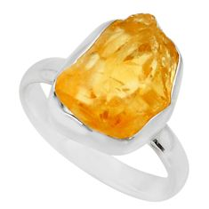 5.82cts yellow citrine rough 925 silver solitaire ring jewelry size 8 r16783